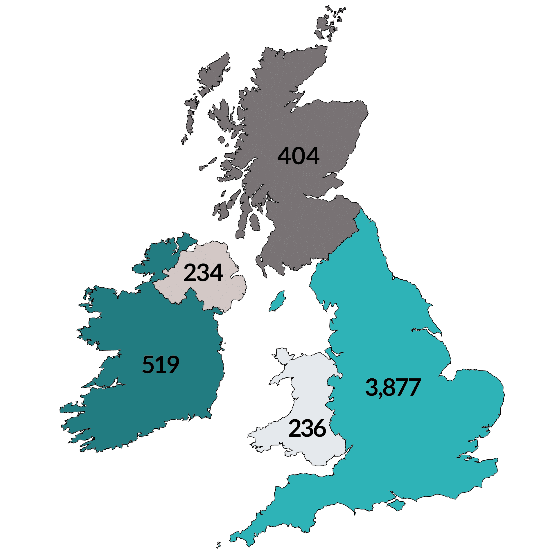UK map - Number of screens 2019